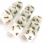 White & Black Mother of Pearl D10 Ten Sided Dice Set